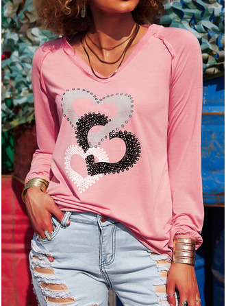 Print Heart V-Neck Long Sleeves Casual T-shirt