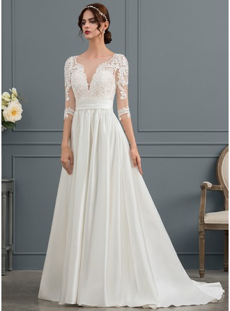 Ball-Gown Scoop Neck Court Train Satin Wedding Dress With Ruffle