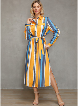 Color Block Striped A-line Long Sleeves Midi Casual Vacation Shirt Dresses