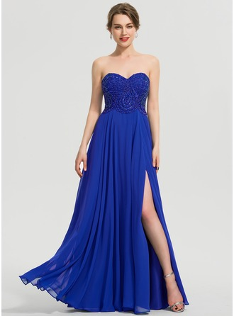 997bdff0bb26e A-Line Sweetheart Floor-Length Chiffon Prom Dresses With Beading Sequins Split  Front
