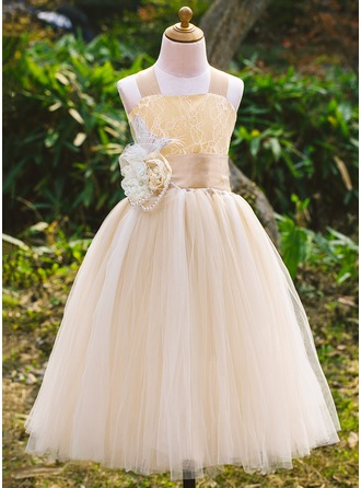 A-Line Ankle-length Flower Girl Dress - Satin/Tulle/Lace Sleeveless Square Neckline With Beading/Flower(s)