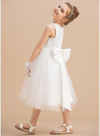 A-Line Scoop Neck Tea-length With Bow(s) Satin/Tulle Flower Girl Dress