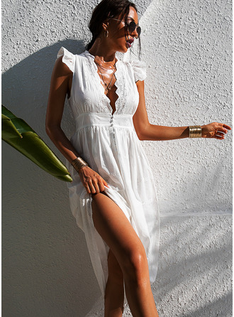 Maxi V neck Polyester Lace/Button/Solid Cap Sleeve Fashion Dresses