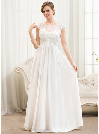 A-Line/Princess Scoop Neck Floor-Length Chiffon Wedding Dress With Ruffle Appliques Lace