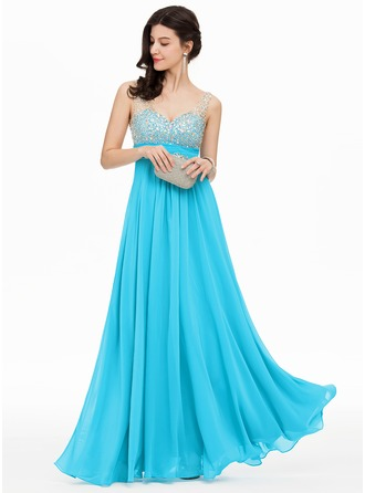 A-Line/Princess V-neck Floor-Length Chiffon Prom Dresses With Sequins