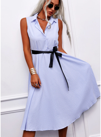 Striped A-line Sleeveless Midi Casual Elegant Shirt Dresses