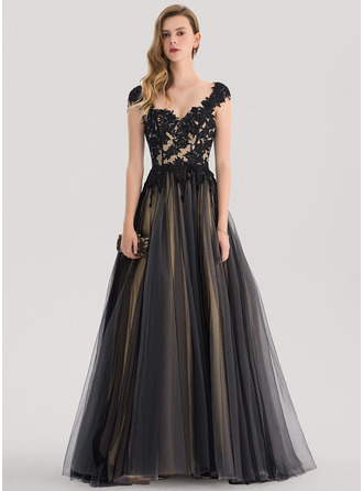 Ball-Gown/Princess Sweetheart Sweep Train Tulle Prom Dresses