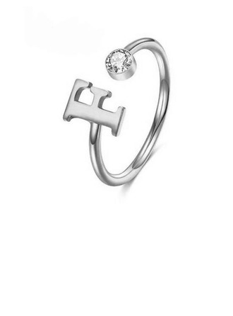 Personalized Ladies' Hottest 925 Sterling Silver With Round Cubic Zirconia Initial Rings Rings For Bride/For Bridesmaid/For Mother/For Friends/For Couple