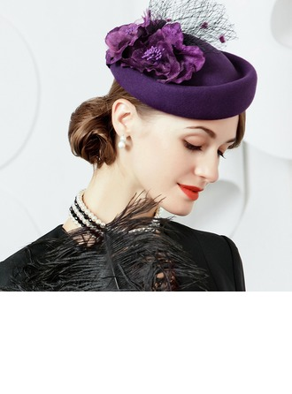 Ladies' Simple/Pretty/High Quality Wool With Tulle Beret Hat
