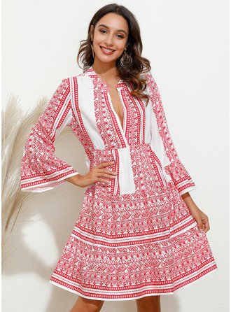 Print Shift Flare Sleeve Long Sleeves Mini Casual Tunic Dresses