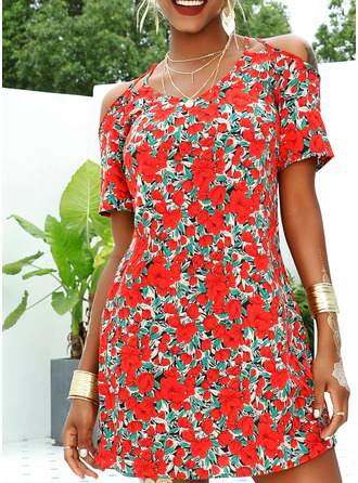 Floral Print A-line Short Sleeves Mini Casual Vacation Skater Dresses