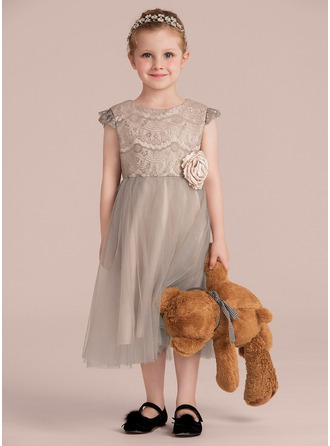A-Line/Princess Tea-length Flower Girl Dress - Satin/Tulle/Lace Sleeveless Scoop Neck With Flower(s)