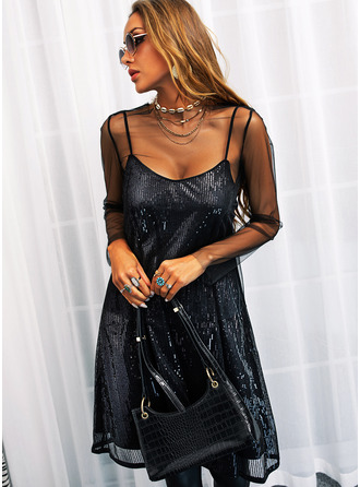 Sequins Solid Shift Long Sleeves Mini Little Black Party Sexy Dresses