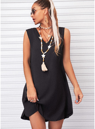 Solid Shift Sleeveless Mini Little Black Casual Tank Dresses
