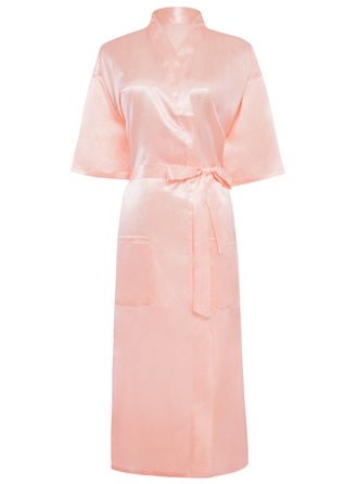 Bride Bridesmaid charmeuse With Knee-Length Kimono Robes