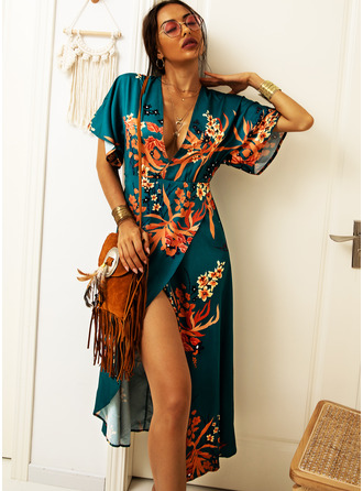 Midi V neck Polyester Print 3/4 Sleeves Fashion Dresses