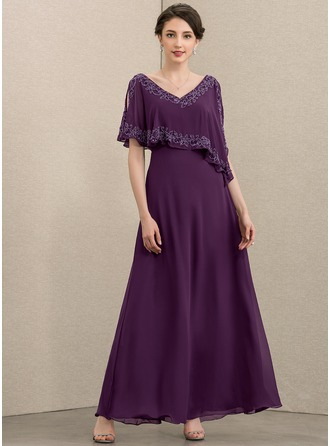 A-Line V-neck Ankle-Length Chiffon Evening Dress With Beading Sequins