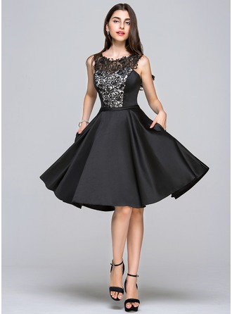 A-Line/Princess Scoop Neck Knee-Length Satin Homecoming Dress With Sequins