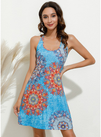 Above Knee Halter Cotton Blends Print Sleeveless Fashion Dresses
