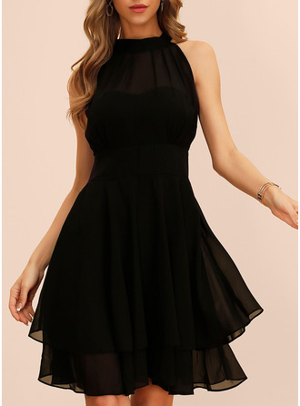 Solid A-line Sleeveless Midi Little Black Party Dresses