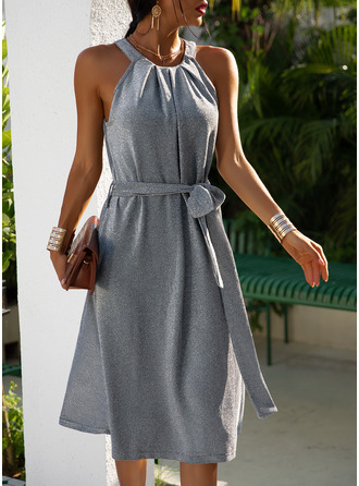Solid A-line Sleeveless Midi Party Elegant Skater Dresses