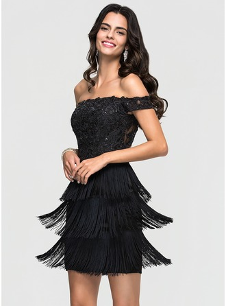 Sheath/Column Off-the-Shoulder Short/Mini tassel Homecoming Dress With Lace Sequins