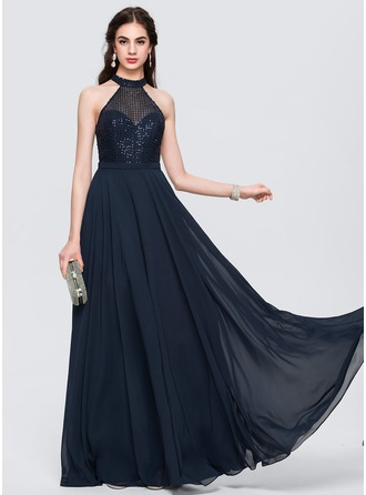 A-Line/Princess Scoop Neck Floor-Length Chiffon Prom Dresses With Sequins