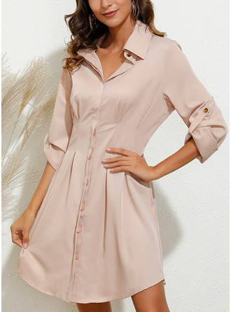 Print Sheath 1/2 Sleeves Mini Casual Shirt Dresses