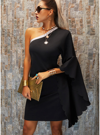 Sequins Solid Shift Batwing Sleeves Long Sleeves Mini Little Black Party Dresses