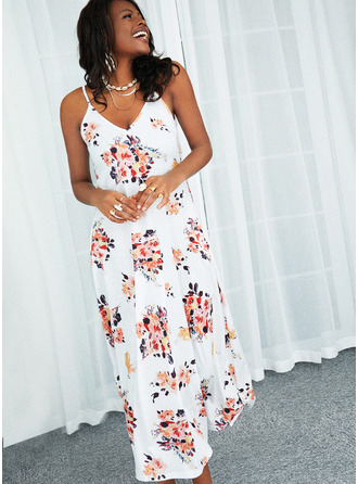 Floral Print A-line Sleeveless Maxi Casual Skater Type Dresses