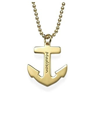 Custom 18k Gold Plated Silver Anchor Engraved Necklace - Christmas Gifts
