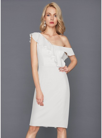 Sheath/Column One-Shoulder Knee-Length Jersey Cocktail Dress With Cascading Ruffles