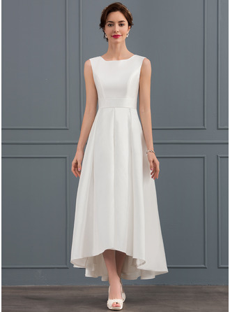 A-Line Square Neckline Asymmetrical Satin Wedding Dress