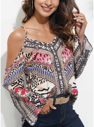 Print Cold Shoulder Flare Sleeve Long Sleeves Casual