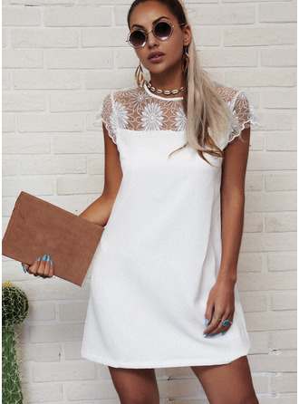 Lace Solid Sheath Cap Sleeve Mini Casual Dresses
