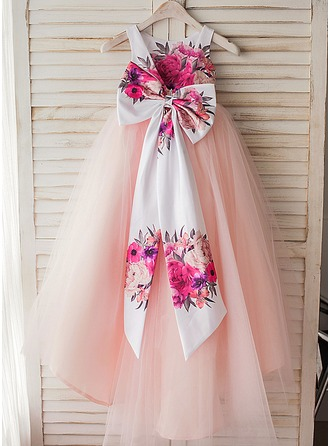 A-Line/Princess Tea-length Flower Girl Dress - Satin/Tulle Sleeveless Scoop Neck With Bow(s)/V Back