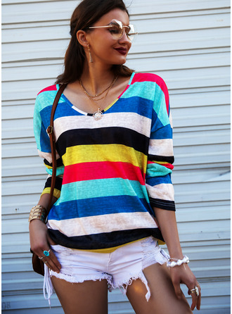Striped V-Neck Long Sleeves Casual T-shirt