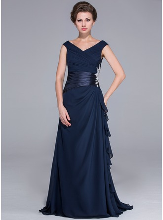 A-Line/Princess Off-the-Shoulder Sweep Train Chiffon Mother of the Bride Dress With Beading Appliques Lace Cascading Ruffles