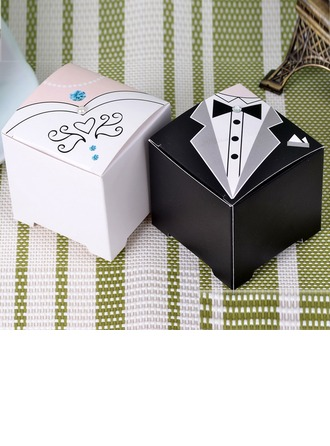 Tuxedo & Gown Cuboid Favor Boxes (Set of 12)