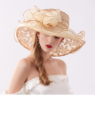 Ladies' Glamourous/Eye-catching Organza With Rhinestone Beach/Sun Hats/Kentucky Derby Hats/Tea Party Hats