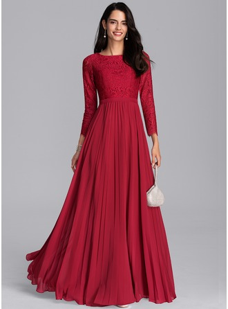 A-Line Scoop Neck Floor-Length Chiffon Bridesmaid Dress With Pleated