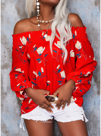 Floral Print Off the Shoulder 3/4 Sleeves Casual Blouses