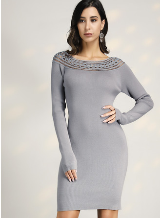 Round Neck Casual Sexy Long Tight Solid Ribbed Sweaters