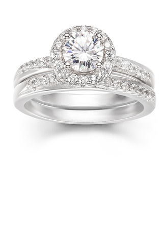 Sterling Silver Cubic Zirconia Exquisite Round Cut Promise Rings Bridal Sets -
