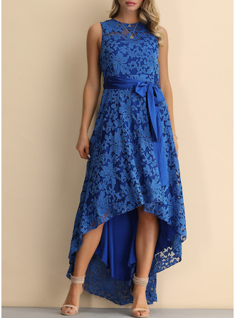 Lace A-line Sleeveless Asymmetrical Party Vintage Elegant Dresses