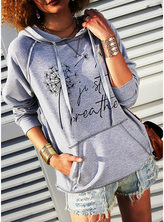 Print Dandelion Figure Long Sleeves Hoodie (1001254374)