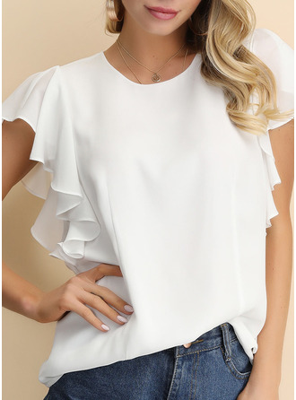 Solid Round Neck Short Sleeves Casual Elegant