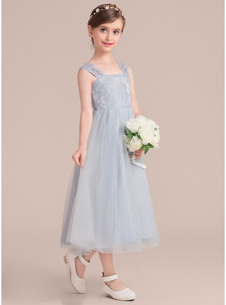 A-Line/Princess Square Neckline Tea-Length Junior Bridesmaid Dress