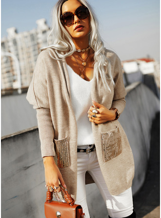 Hooded Casual Sequins Solid Pocket Sweaters