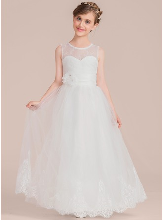 A-Line/Princess Floor-length Flower Girl Dress - Tulle/Lace Sleeveless Scoop Neck With Beading/Flower(s)
